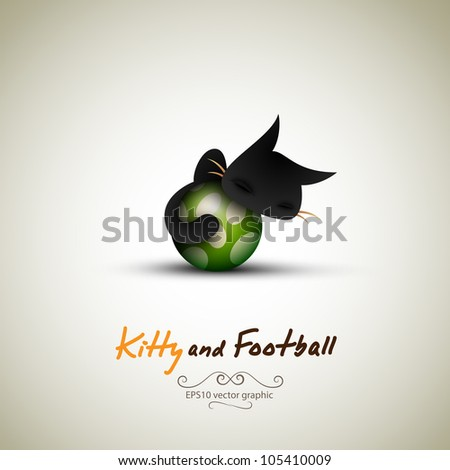 Little Cat Sleeping on Football   Great Greeting for Pet Owners   Layered EPS10 Vector Background - stock vector