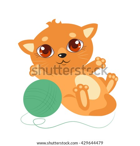 Little Cat With Big Eyes. Cartoon Vector Kitty On A White Background.  Kitten Playing With a Ball of Yarn - stock vector