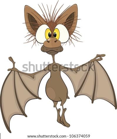Little cheerful bat.Cartoon - stock vector