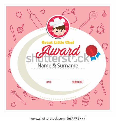 Cooking Class For Kids Red Certificate Design Template, Vector Illustration  Cooking Certificate Template