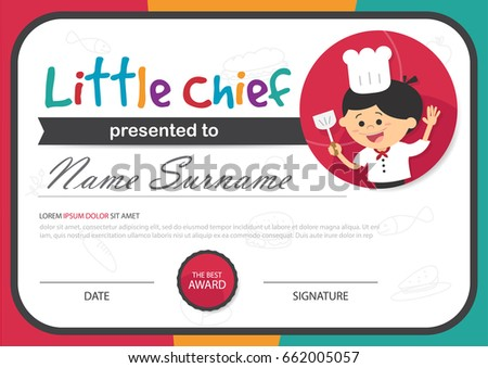 Little Chief Kids Certificate Cooking Course Stock Vector (Royalty ...