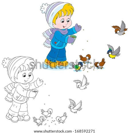 Little child feeding sparrows and titmice - stock vector