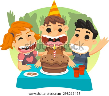 Little children birthday party cartoon illustration - stock vector