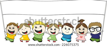 little children with blank banner isolated on white background - stock vector