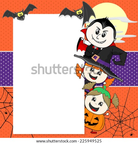 little children with Halloween costumes with bats and blank board for your text - stock vector