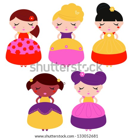 Little colorful princes set isolated on white - stock vector