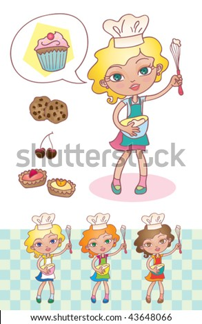 "Little cook. Vector illustration of a cute little girl saying ""Let's cook!"" - stock vector"
