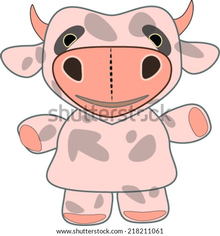 Little cow toy with big nose - stock vector