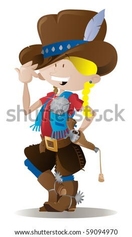 Little Cowgirl Sheriff - stock vector