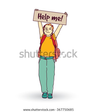 Little crying child girl ask help. Color vector illustration. EPS8 - stock vector