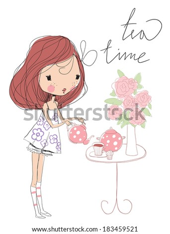Little cute and sweet girl with tea  - stock vector