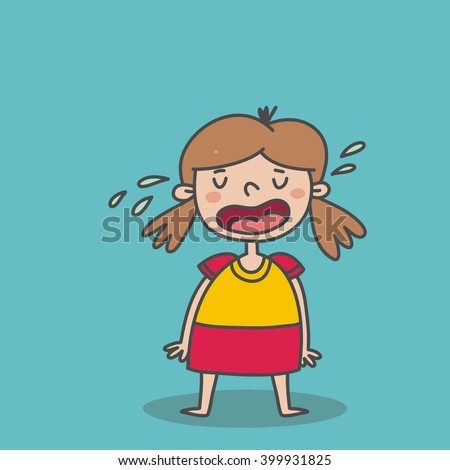 little cute baby girl crying - stock vector