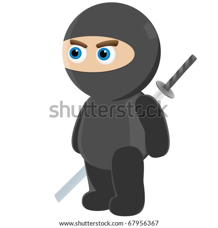 little cute baby ninja in ninja suit and katana sword behind his back isolated on white background