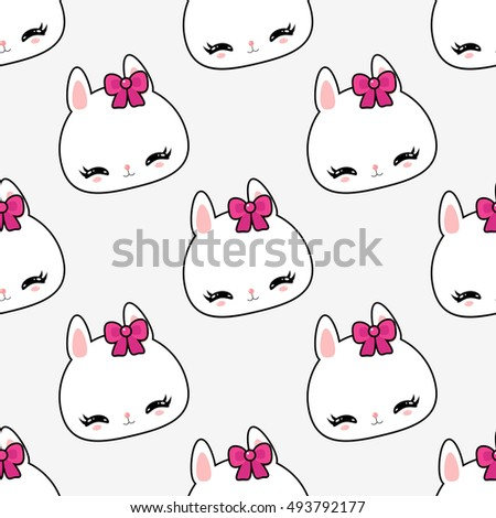 Little Cute Bunny Pattern Childrens Wallpaper Funny Character