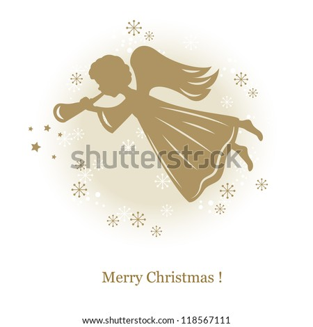 Little cute flying angel with flute. Hand drawing illustration - stock vector