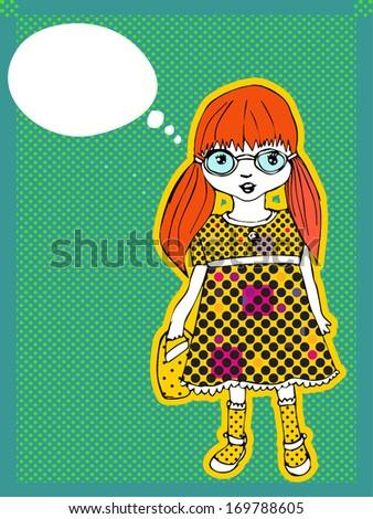 Little Cute Girl - stock vector