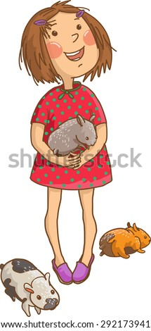 Little cute girl with her pet guinea pigs. Children illustration for School books, advertising, magazines and more. Separate Objects. VECTOR. - stock vector