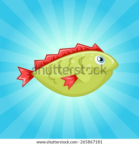 Little cute green fish with red fins - stock vector