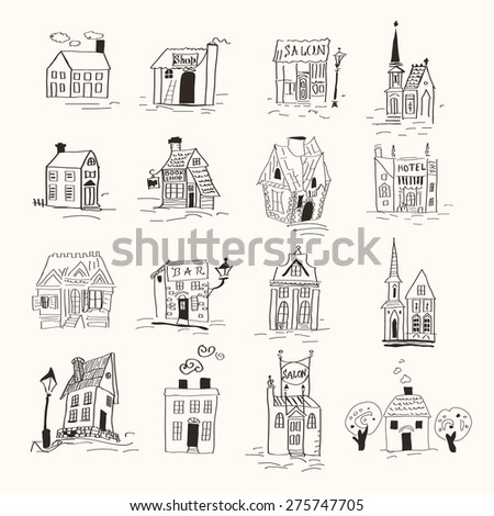 little cute house doodles set - stock vector
