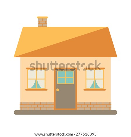 Little cute modern house for happy family. With chimney, roof, windows, door and brickwork. Small urban house. Exterior design. House icon on white background. Flat style vector illustration. - stock vector