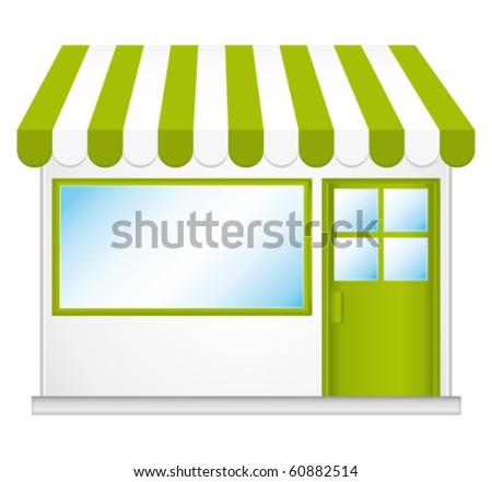 Little cute organic store shop. Vector icon. - stock vector