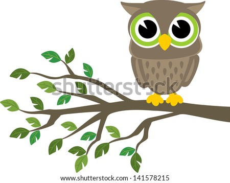 little cute owl sitting on a branch isolated on white background, vector format very easy to edit, individual objects - stock vector