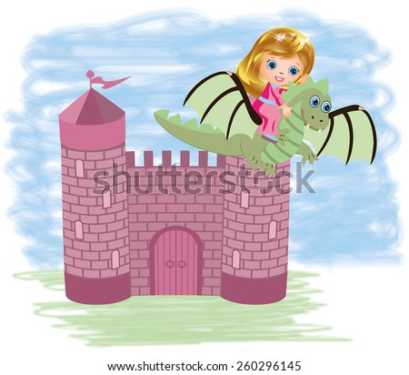 Little cute princess and dragon, vector illustration  - stock vector