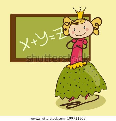 Little cute princess near the class-board - stock vector