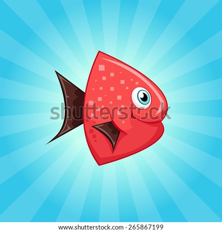Little cute red fish with brown fins - stock vector