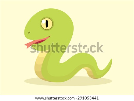 little cute snake cartoon vector