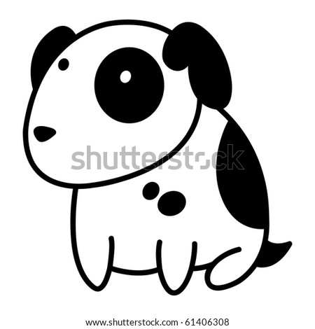 Little cute spotty puppy. - stock vector