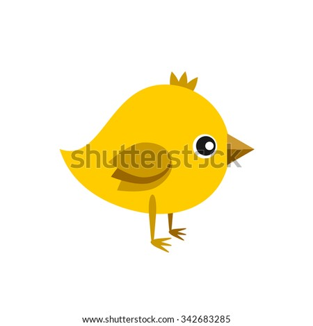 little cute yellow chick vector color flat icon