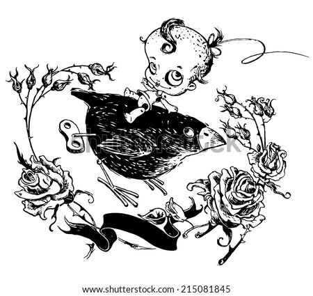 Little  Dead Doll riding BLACK BIRD on White Background. Halloween design which can be used for cards , banners, advertising, t-shirts and etc. VECTOR - stock vector