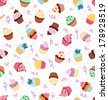 Little delicious cupcakes with sprinkles and party confetti, seamless pattern background - stock vector