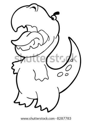 little dinosaur outline vector