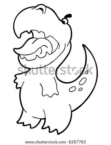 little dinosaur outline vector