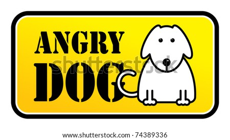 Little Dog Angry sign, vector illustration - stock vector