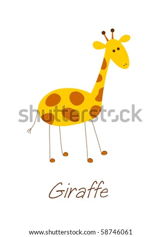 Little doodle lonely giraffe isolated on white background