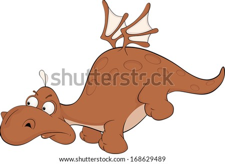 Little dragon cartoon  - stock vector