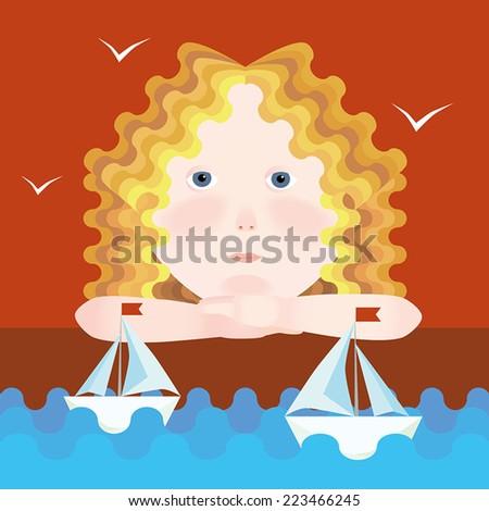 Little dreamy girl and sailboats. Vector - stock vector