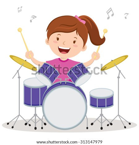Little drummer girl. Vector illustration of a little girl playing drums. - stock vector