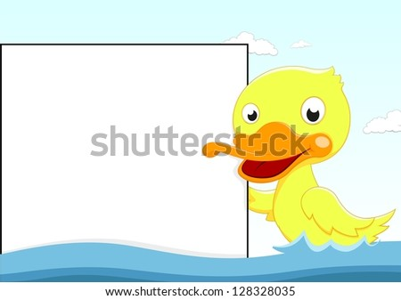 Little Duck Swimming with Blank sign