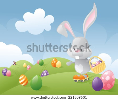 Little Easter Bunny Delivering Eggs On Roller Skates