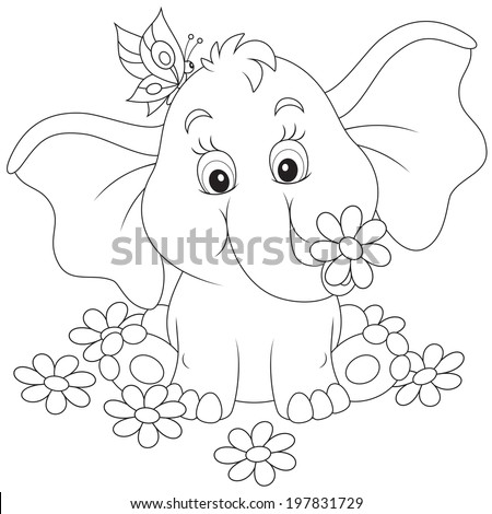 Little elephant with flowers - stock vector