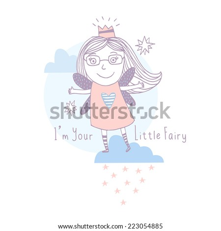 little fairy. Childish vector card in pastel colors. Beautiful background - stock vector