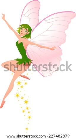 Little Fairy flying. - stock vector