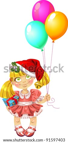 Little fairy in red dress with balloons in red Santa`s  hood