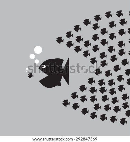 Little Fish Eat Big Fish. Unity, Teamwork, Organize Concept. Fishes unite fight with big fish. vector illustration - stock vector