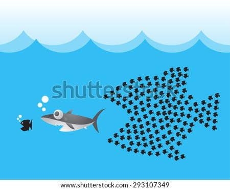 Little Fish Eat Big Fish. Unity, Teamwork, Organize Concept. Fishes unite fight with big fish. vector illustration. sharks - stock vector