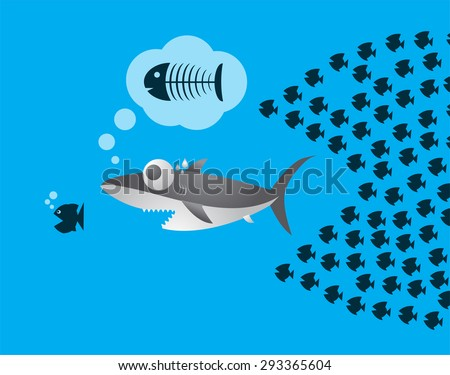 Little fish eat big fish unity stock vector 293365604 for Big fish little fish
